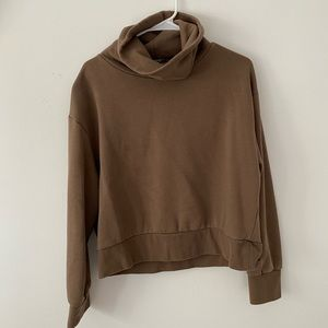 Zara Cowl Neck Brown Sweater. Cropped. Large.